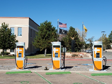 A row of vehicle charging stations