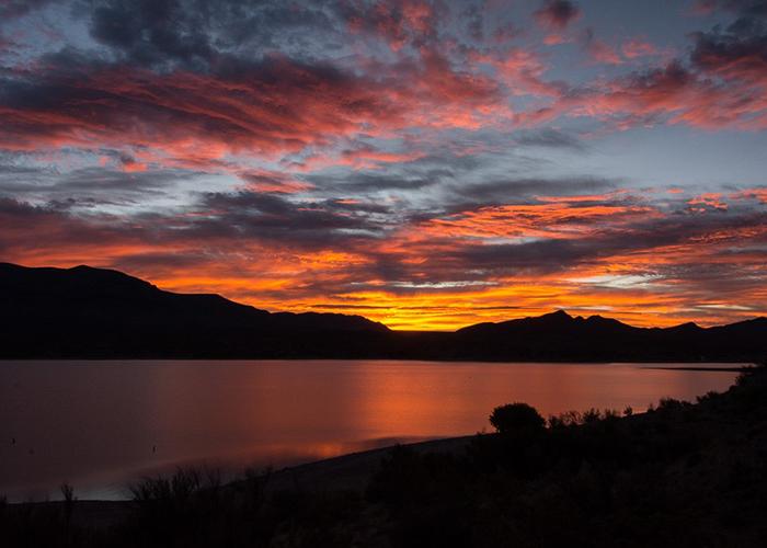 Sunset of Caballo Lake