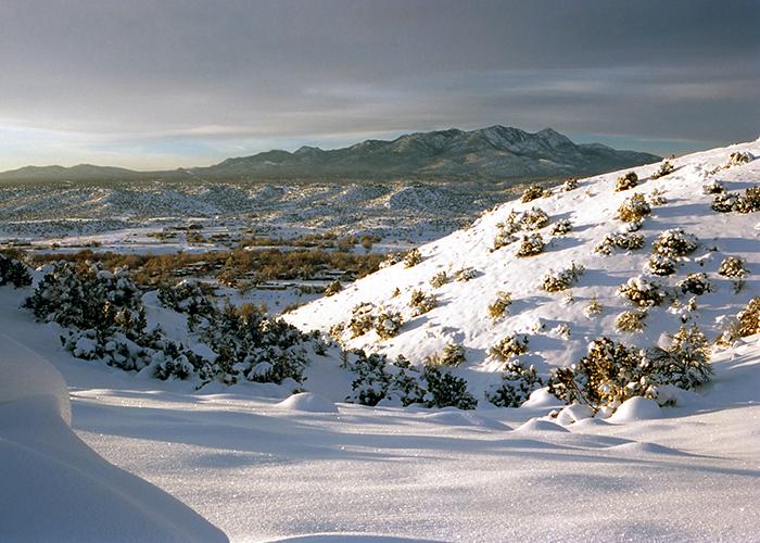 Cerrillos Hills with snow