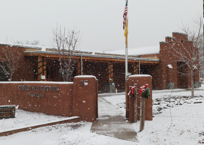 Visitor Center with snow