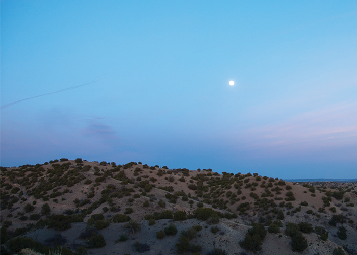 Cerillos Hills with moon