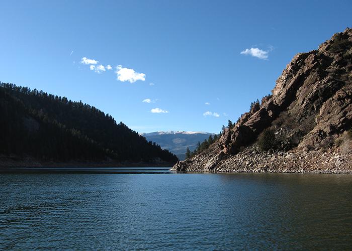 Mountains surrounding lake