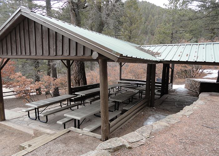 Shelter with tables