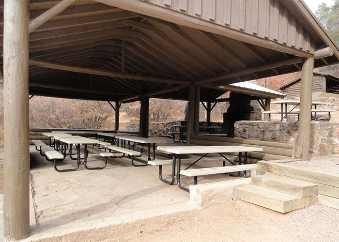Tables under shelter