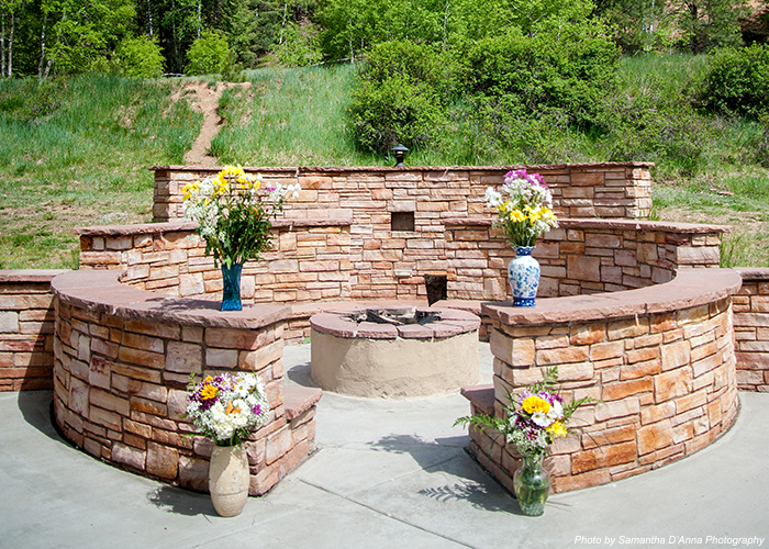 Fireplace and flowers