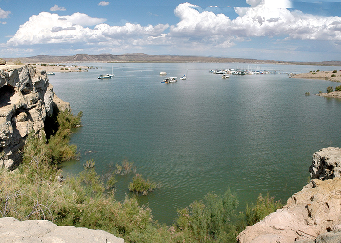 View of lake from rocks