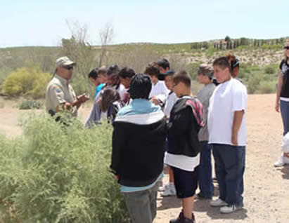 A group of young adults listen to a ranger while standing outside