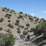 Group of people walking alongside sagebrush covered hill
