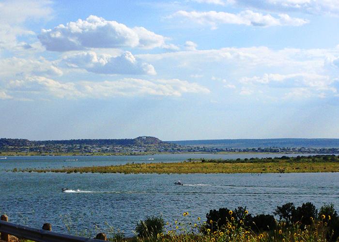 Several boats on lake