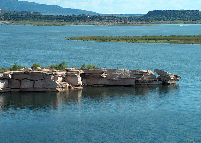 Rock formation in lake