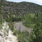 A river winding through mountains