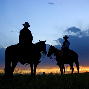 Silhouettes of two people on horseback at dawn or dusk