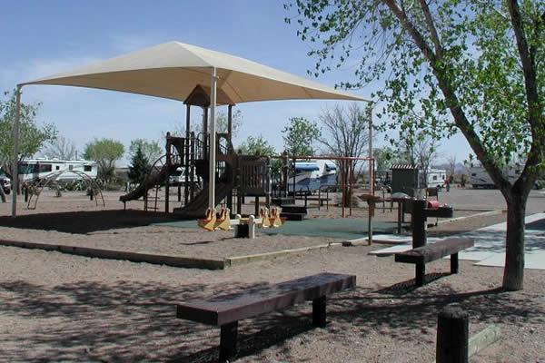 Park with trees and play structure