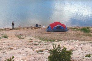 Tent in a barren landscape